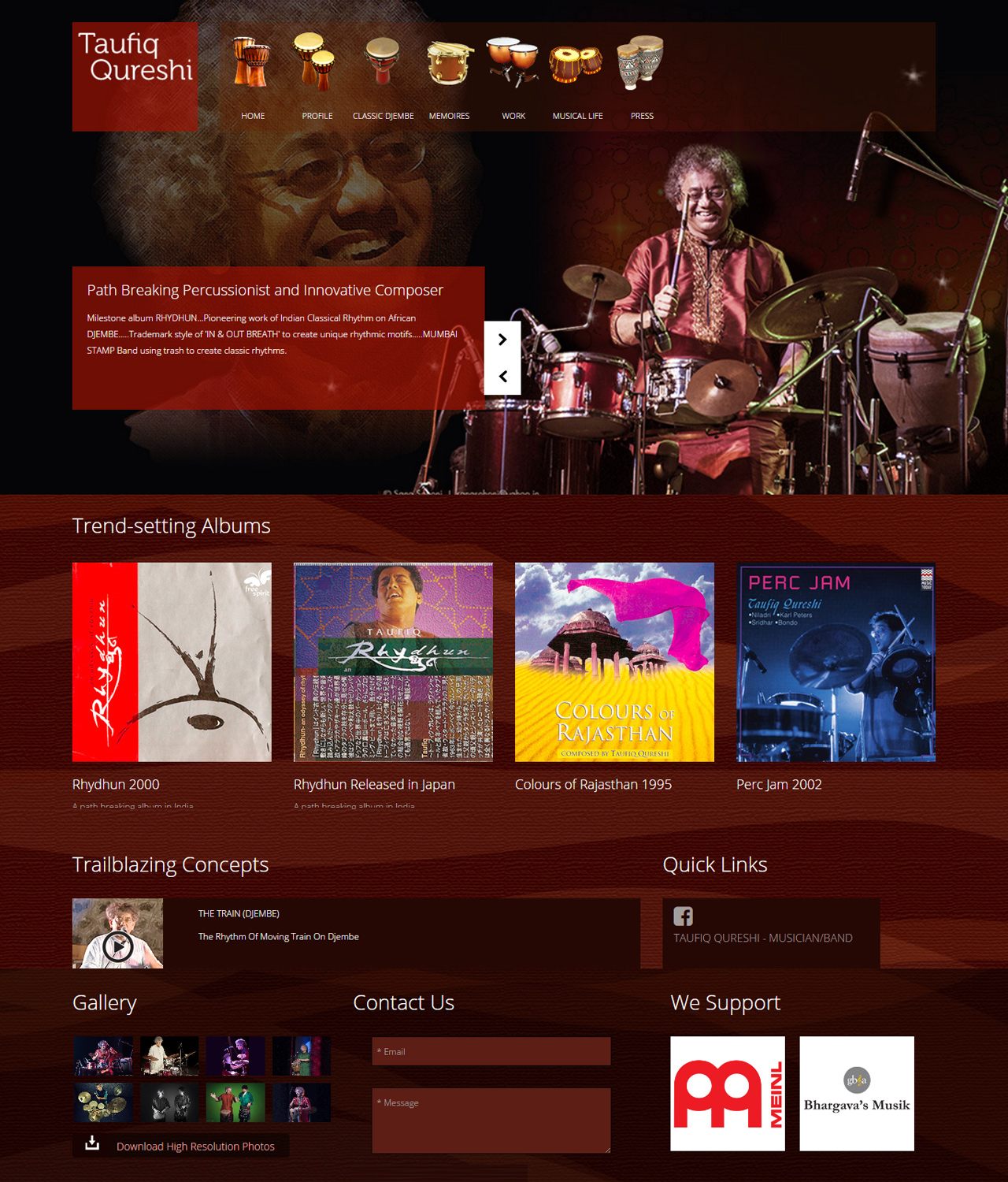 Website Design for World Renowned Musician and Percussionist - Taufiq Qureshi