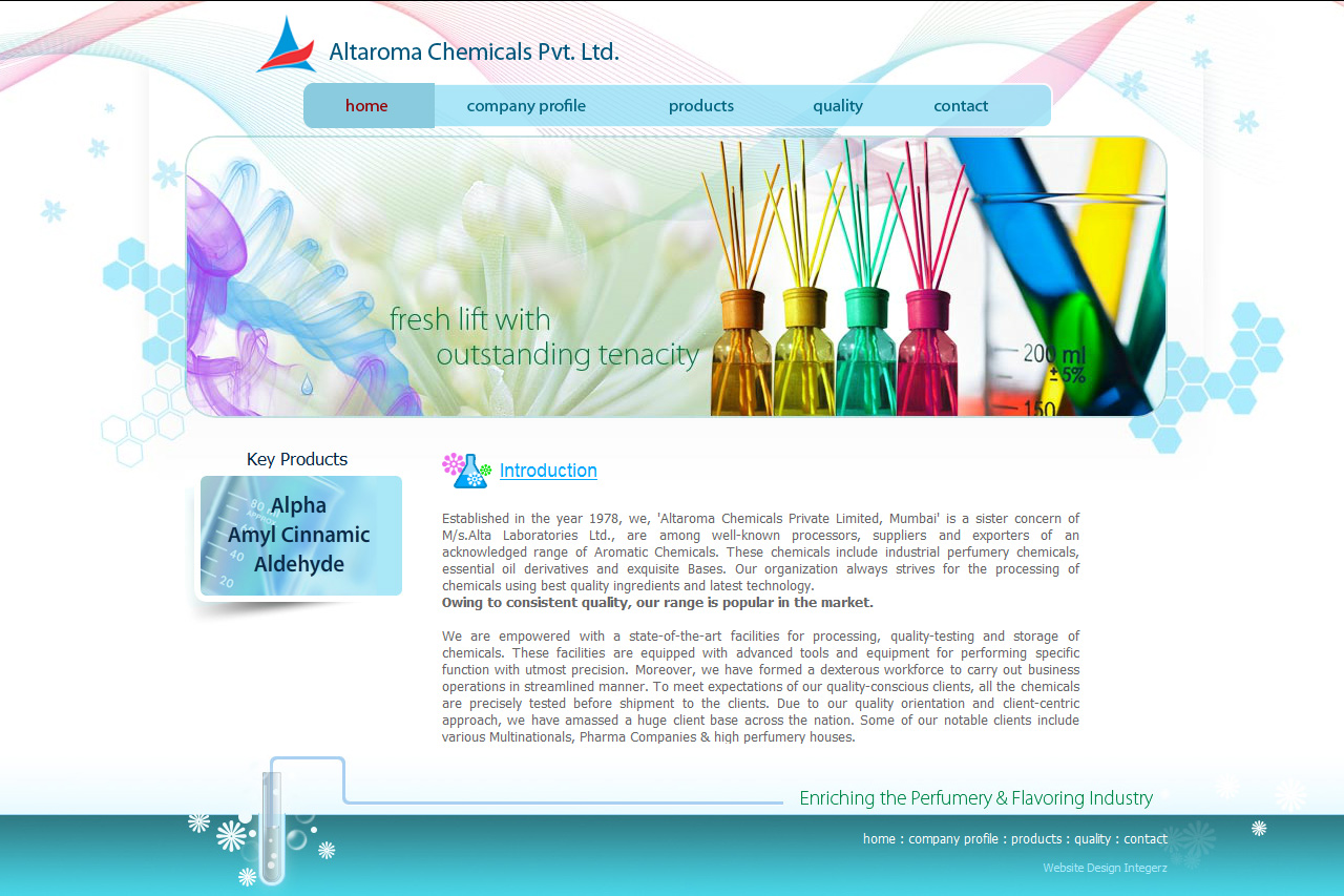 Website Design for Aroma Chemicals